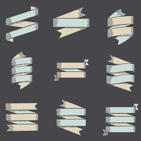Conjunto de coleta de vetor de rótulo de faixa de opções de fita em fundo preto
