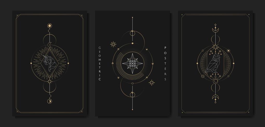 Geometriska astrologiska symboler tarotkort