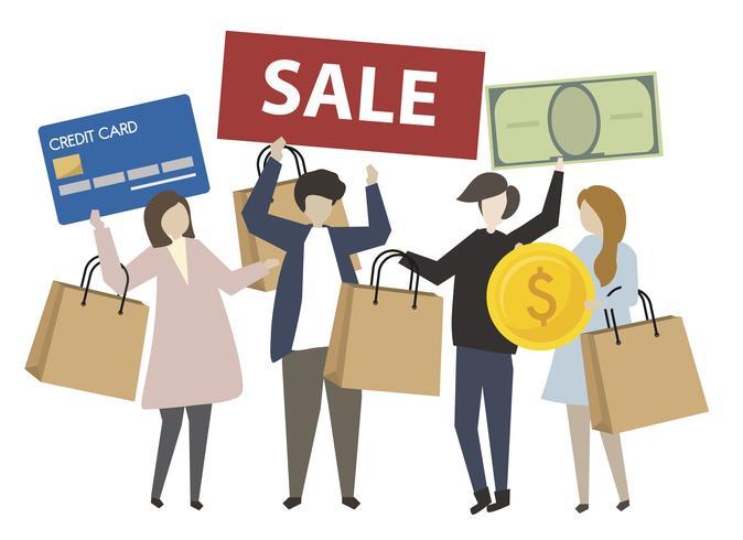 Pessoas, segurando, shopping, conceito, ícones, ilustração