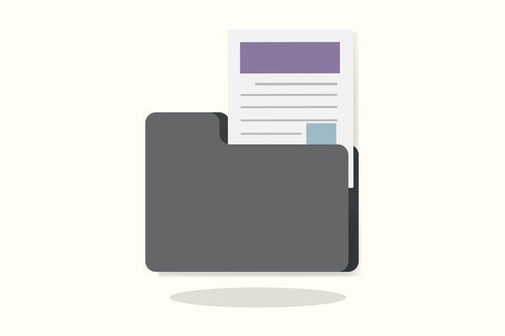 Ilustração, de, um, pasta, com, documento