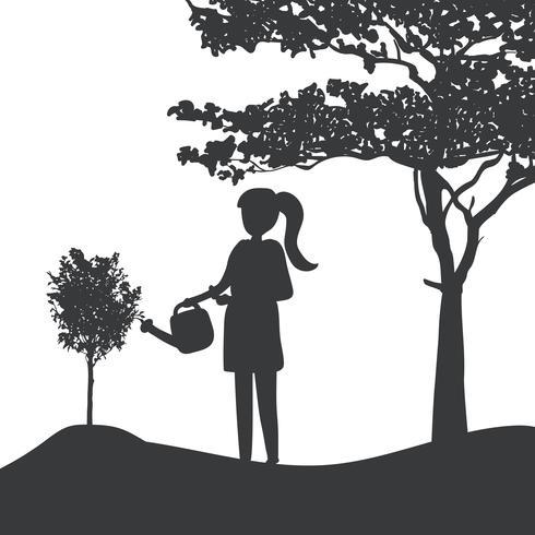 Silhouet van een meisje die een installatievector water geven