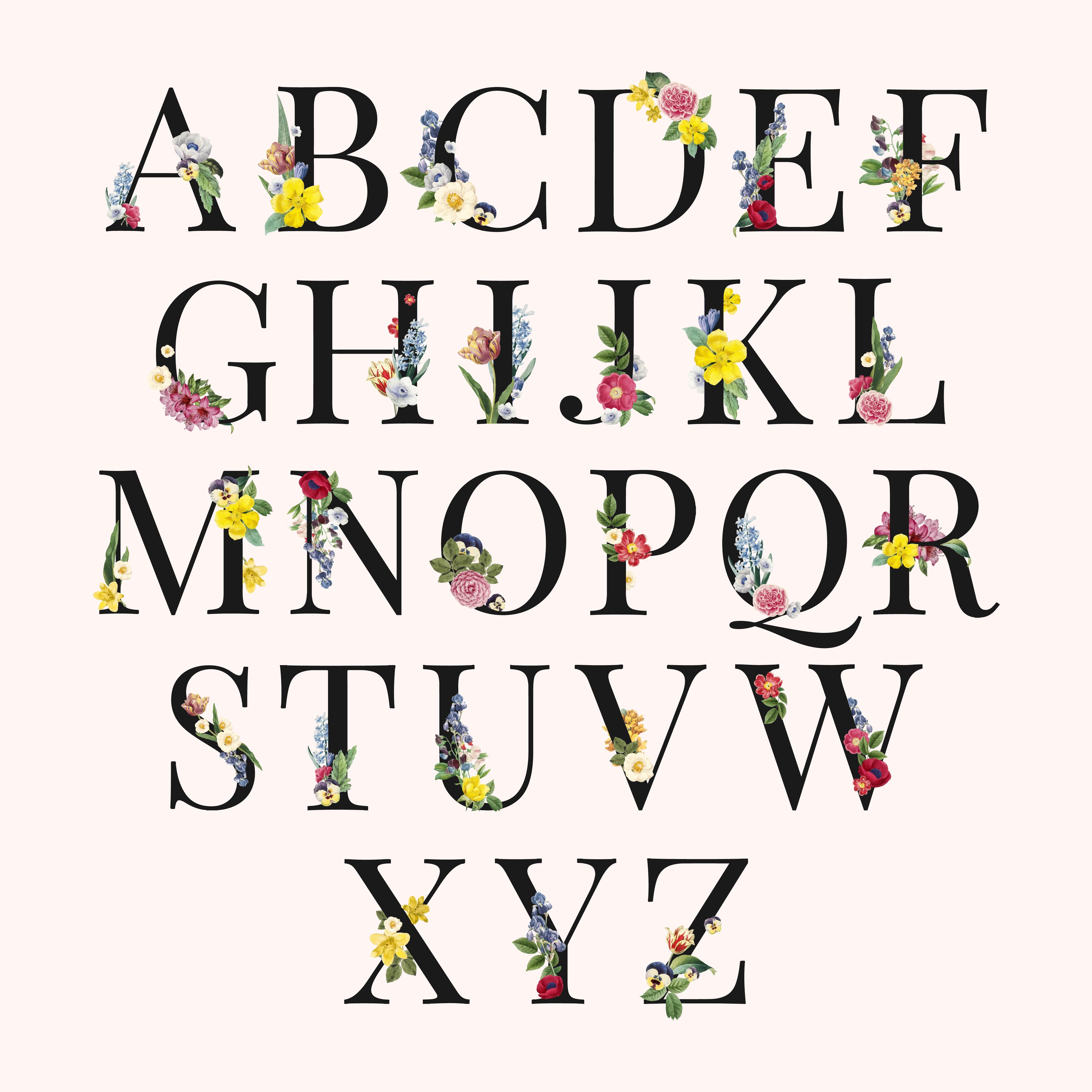 Floral Alphabet Free Vector Art