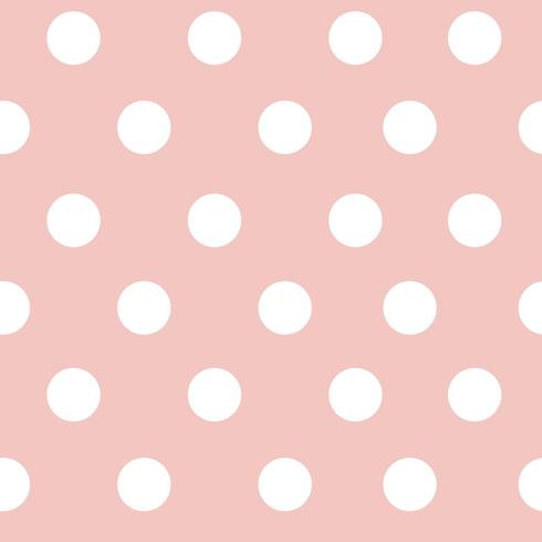 Pastel rosa e branco sem costura polka dot padrão vector