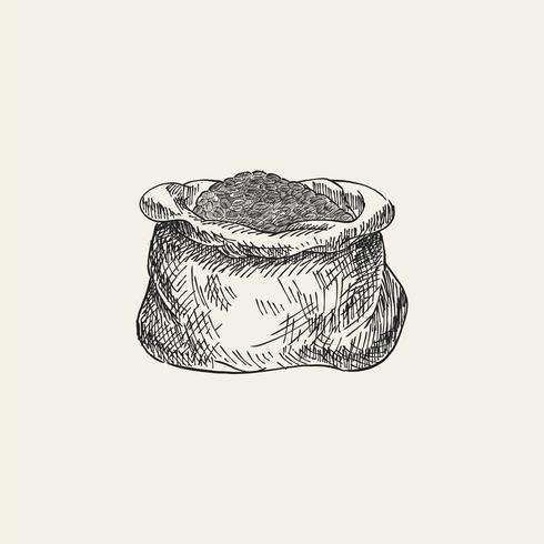 Vintage illustratie van een zak koffiebonen