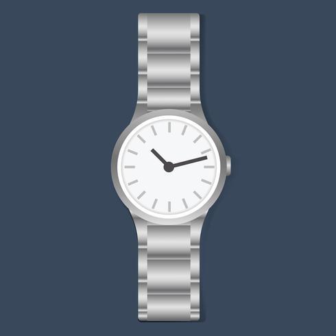 Ilustração de um relógio de pulso metálico