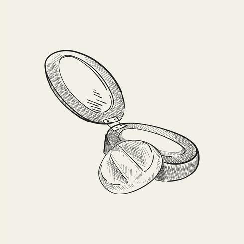 Ilustración vintage de un polvo compacto