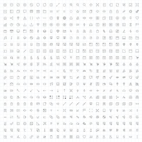 Sats med dator ikon vektorer