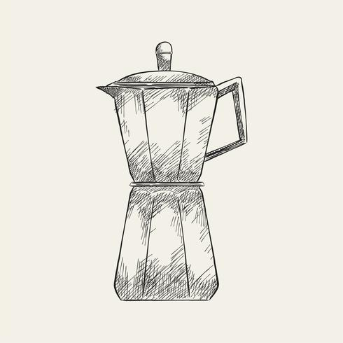 Ilustração Vintage de uma cafeteira