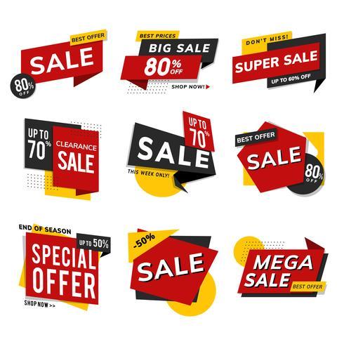 Insieme di vettore di pubblicità di promozione di vendita del negozio
