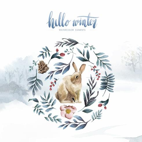 Rabbit surrounded by winter bloom painted by watercolor vector