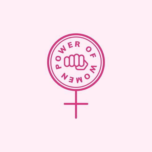 Poder de las mujeres emblema insignia ilustración