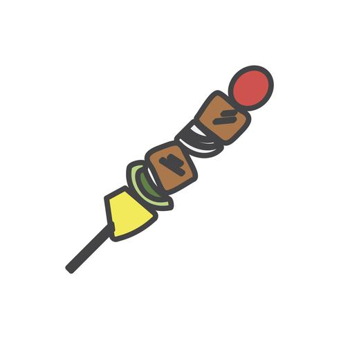 Ilustração, de, churrasco, skewer