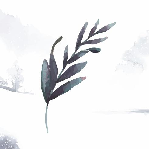 Hand getrokken olijftak aquarel stijl vector