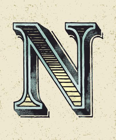 Letra maiúscula N estilo de tipografia vintage