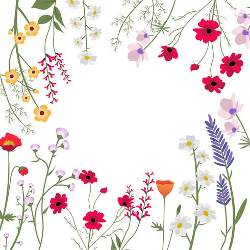 Ilustração em vetor de flores silvestres