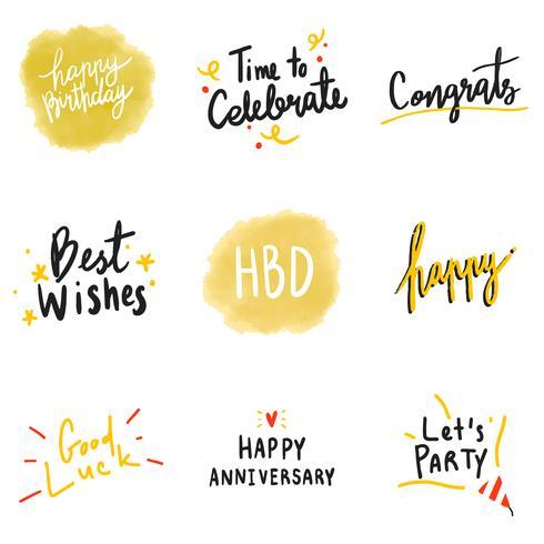 Satz gelbe feierliche Typografievektoren