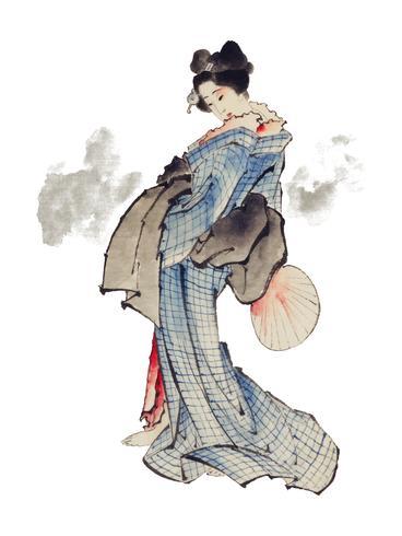 Illustrazione di stile giapponese tradizionale Ukyio-e di una donna giapponese in kimono di Katsushika Hokusai (1760-1849). Originale della Library of Congress. Miglioramento digitale di rawpixel.