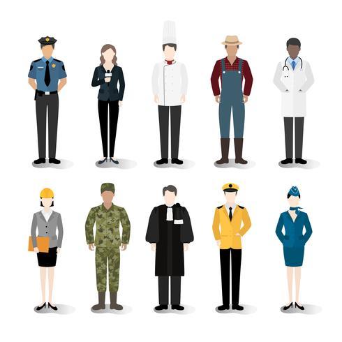 Ilustración vectorial de diversas carreras y profesiones.