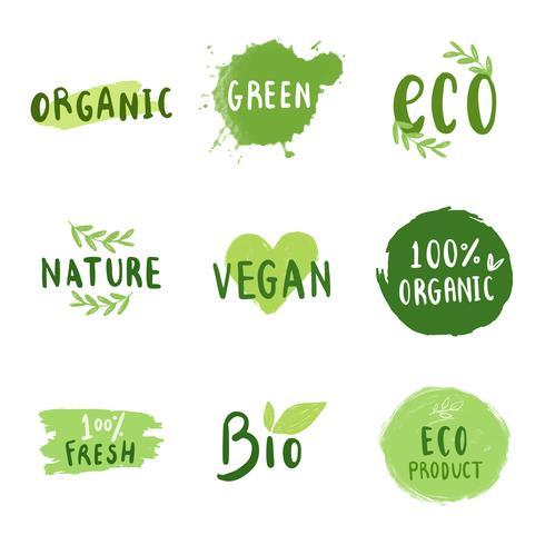 Samling av miljövänliga typografiska vektorer