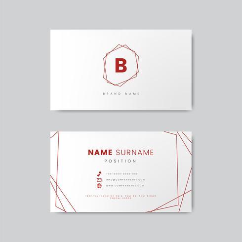Diseño mínimo de tarjetas de visita con formas geométricas.