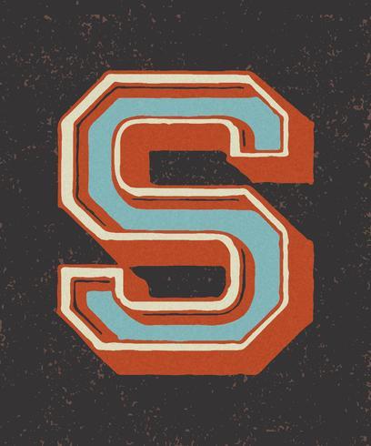 Hoofdletter S vintage typografie stijl