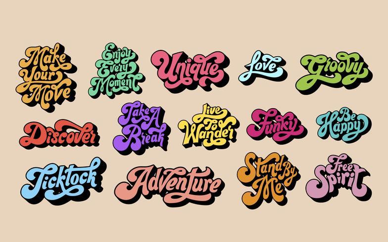 Blandad uppsättning motivationsord typografi