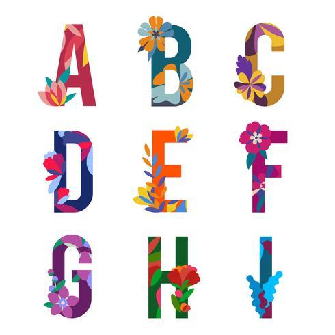 Blom mönstrade bokstäver vektor
