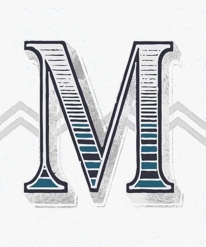 Hoofdletter M vintage typografie stijl
