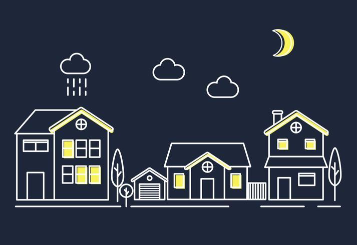 Ilustração de uma área de subúrbio com casas