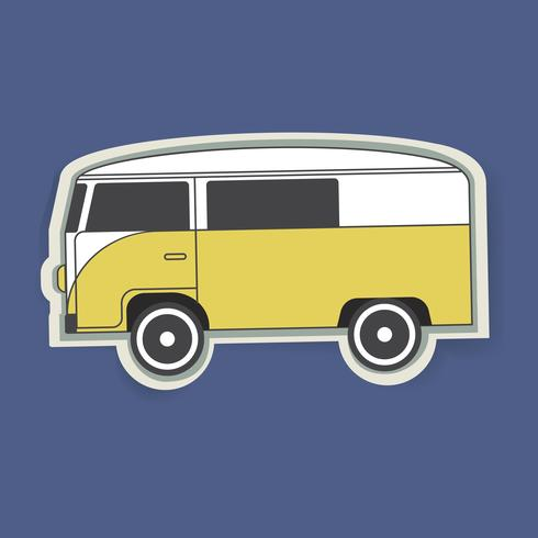 Vetor de ilustração gráfica de Van veículo carro viagem amarela