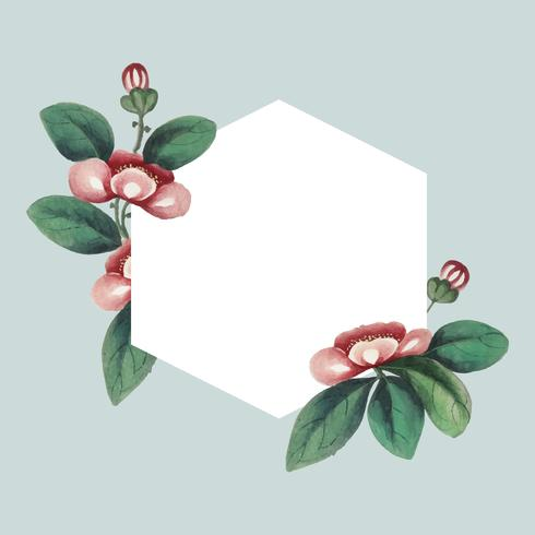 Chinese painting featuring flowers blank hexagon frame vector
