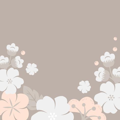 Cornice di fiori pastello giapponese vettore