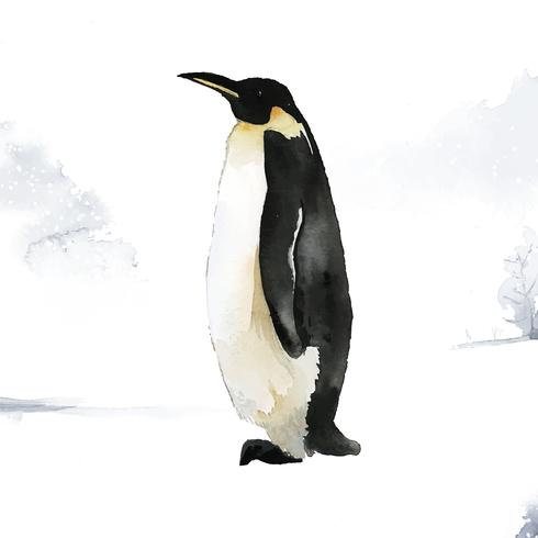 Pingüino emperador en el vector acuarela de nieve