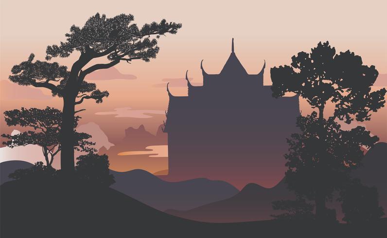 Wat Benjamabhopit silhouette vector design