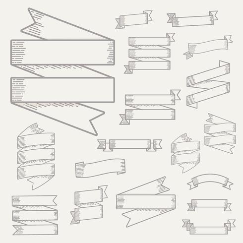 Collection Set of Ribbon Banner Label Vector