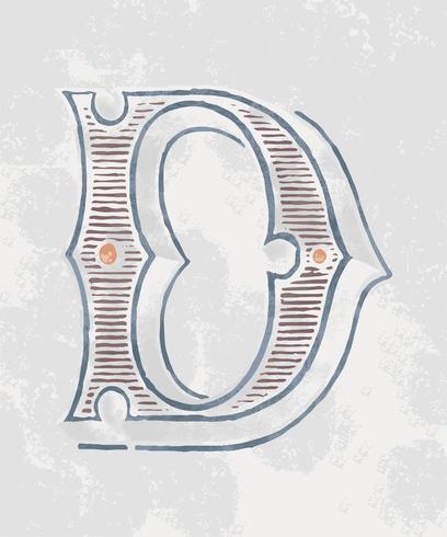 Vintage-Typografieart des Großbuchstaben D