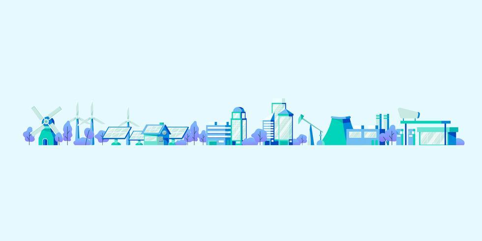 Energibesparande koncept vektor i blått