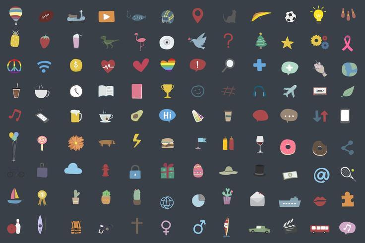 Set van willekeurige en populaire pictogrammen