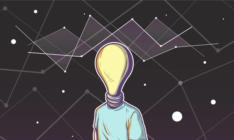 Illustration of a light bulb head