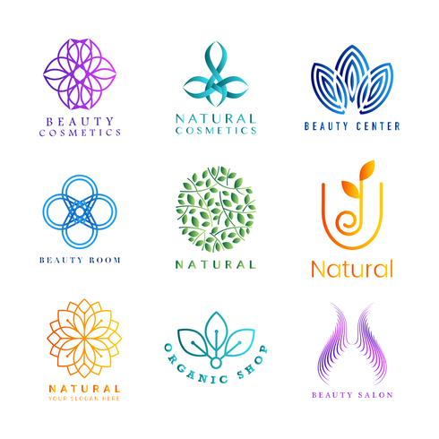 Set of colorful natural cosmetics logo vector