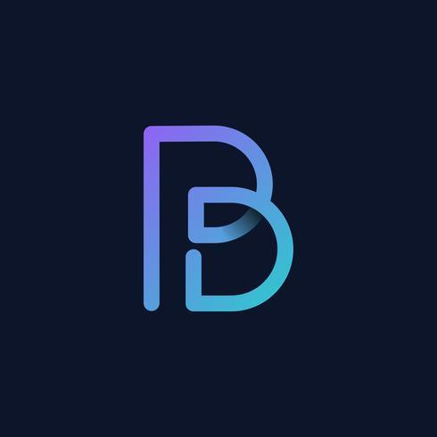 Retro färgstark bokstav B vektor