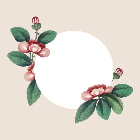 Kinesisk målning med blommor blank cirkel ram vektor