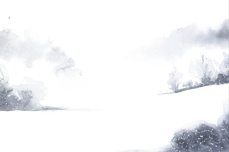 Wintermärchenlandlandschaft gemalt durch Aquarellvektor