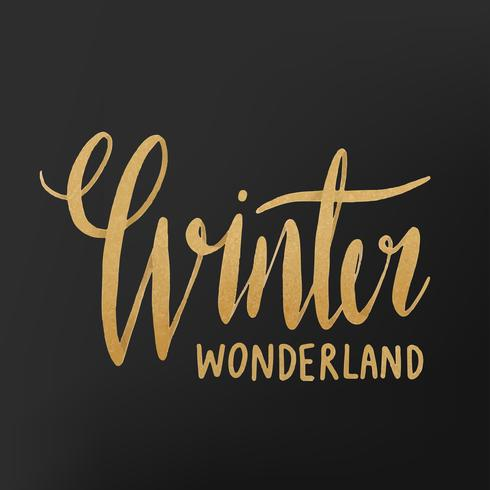 Winter wonderland watercolor typography vector