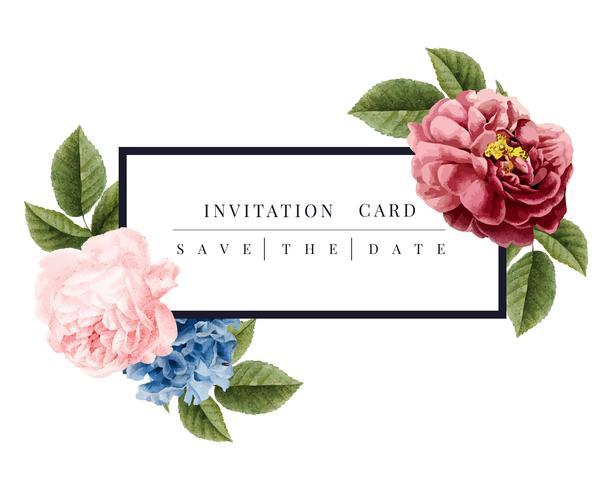 Bloemen de kaartillustratie van de huwelijksuitnodiging