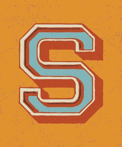 Mayúscula S tipografía vintage estilo