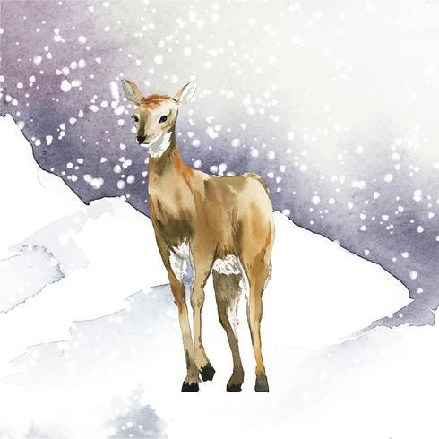 Ciervo hembra pintada por vector acuarela