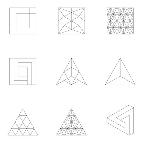 Linjär illustration av geometriska former