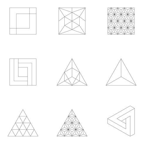 Linear illustration of geometric shapes