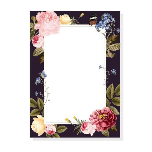 Blank floral frame card illustration